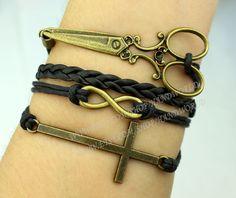 cross bracelet infinity wish bracelet Scissors by handworld, $5.59