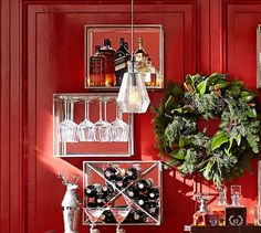 Mirrored Entertaining Shelves, Pewter - Set of 3 (wine glass shelf, wine bottle shelf, bottle shelf) - $379 (less 20% is $303.20)