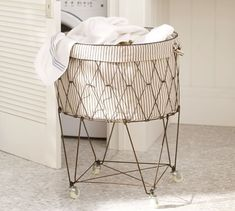 "French Wire Hamper & Ticking Stripe Liner 22"" diameter, 29"" high, Basket: 13"" deep TCK ST BSK LNR BRN 2361947"