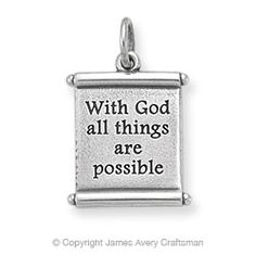 "James Avery ""All Things Are Possible"" Scroll charm, Sterling Silver $39"