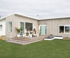 Why this family turned their Foxton Beach bach into their permanent home Mermaid Tile, Grey Tiles, New Builds, House Tours, Building A House, Outdoor Structures, Interior Design, Architecture, Beach