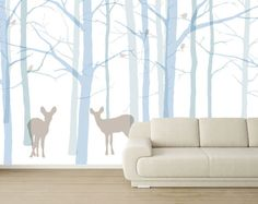 forest mural with cool overlapping trees.  Adds so much depth.  Would skip the deer though