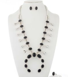 For your consideration is this beautiful and very elegant sterling silver Black Onyx squash blossom necklace set by Navajo artisan Verna Blackgoat. This gorgeous set includes the squash blossom necklace, matching earrings and matching ring. | eBay!