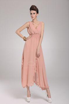 Charming Low-Cut Sleeveless Women's Chiffon Long Dresses, SKY BLUE, M in Chiffon Dresses | DressLily.com