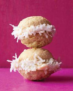 Coconut sandwich cookies recipe. Yum!