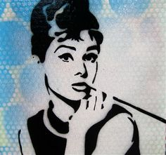Nice etsy shop.  I love the graffiti look of hand cut stencils and adding other texture elements.....PLUS...AUDREY..enough said!