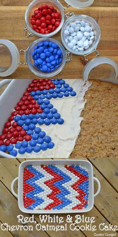 Cover a cookie cake with red, white and blue MMs. This is so cute! I love it:)
