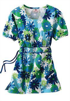 White Cross Aloha Blooms scoop neck print scrub top.