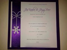 Cadbury purple snowflake flat wedding invitation available in your colour choice from www.facebook.com/thatspecialdaystationery