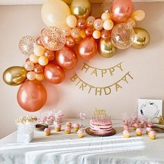 Rose Gold Balloon Garland DIY Kit Rose Gold New Chrome Gold .- Rose Gold Balloon Garland DIY Kit Rose Gold New Chrome Gold & Peach~Rose Gold Bridal Shower~Rose Gold Wedding~Baby Shower~Rose Gold Decor Raquel added a photo of their purchase - Confetti Balloons Wedding, Bridal Shower Balloons, Rose Gold Balloons, Gold Bridal Showers, Blue Party Decorations, Decoration Evenementielle, Diy Birthday Decorations, Balloon Arch Diy, Balloon Garland