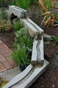 Cool water feature for the yard. Could end in a gravel rockery making it safe for kids.