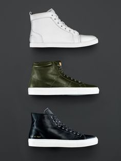 Contrary to popular belief, you can wear high-tops with a suit. Just follow a few simple rules.  Two colors on the shoe, max: one for the upper and one for the sole. Lace to the top—that way, your pant leg won't get lost inside the shoe. Get on (even more) intimate terms with your tailor. You're going to need a slim, trim, and perfectly hemmed pair of pants. Wear the shoes to the alteration.  $895, Christian Louboutin $179, Greats $416, Common Projects