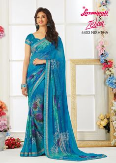 Get the ultimate ethnic look by draping this pretty saree that will emblazon your feminine look even further. Made to complement you in every way, this piece is a complete masterpiece. Laxmipati Sarees, Indian Sarees, Saris, Ethnic Looks, Casual Saree, Dubai Fashion, Printed Sarees, Saree Styles, Beautiful Saree