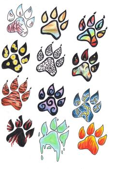 wolf paw tattoo set: the flower one is pretty