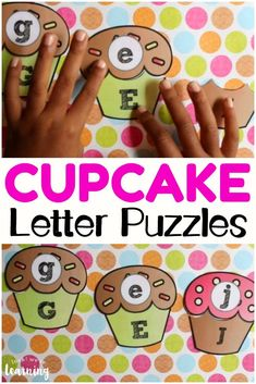 These cupcake letter puzzles are such a cute way to practice recognizing uppercase and lowercase letters! Educational Activities For Toddlers, Alphabet Activities, Kindergarten Activities, Kids Learning, Preschool Projects, Work Activities, Educational Games, Preschool Printables, Preschool Themes