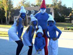 DIY homemade Smurfs Halloween family costume idea! Schmidt family 2010 :-)