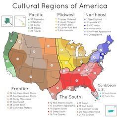 Cultural Regions of America [[MORE]] by Inzitarie: Hello all, I'm working on creating maps of generalized cultural regions of the US, and I need your help! I made this map with inspiration from other 'cultural regions' maps of the US and built upon. Us History, American History, Study History, Cultura General, Ohio River, Us Map, Le Far West, State Map, Studyblr