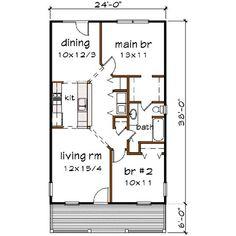 Cottage Style House Plan - 2 Beds 1.00 Baths 912 Sq/Ft Plan #79-109 Floor Plan - Main Floor Plan
