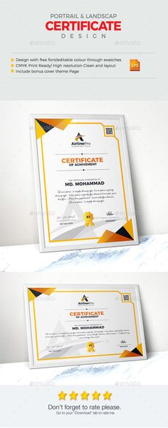 Features of Certificate Template Color VersionsA4 Paper Size With Bleeds Quick and easy to customize templatesChange Customize eas