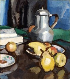 Pewter Painting - Still Life with Pewter Coffee Pot by Samuel John Peploe Still Life Artists, Art Society, Painting Still Life, High Art, Abstract Watercolor, Fine Art Gallery, All Art, Painting Inspiration, Les Oeuvres