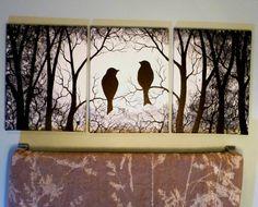 "3 Piece set Wall Art, Birds on Trees, Three 9"" x 12"" Canvas Paintings. by ArtbySimplyMe on Etsy"