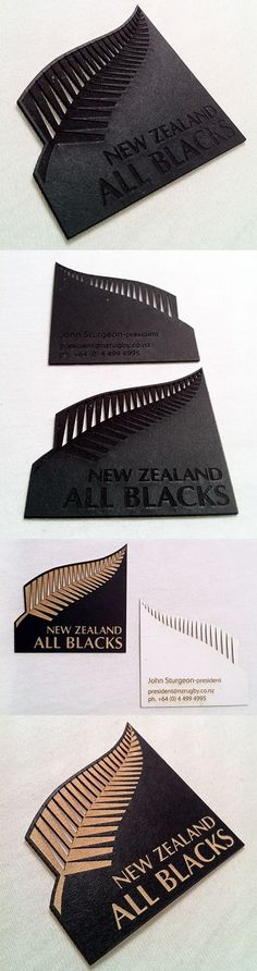 Stylish Laser Cut And Etched Black Business Card For A Rugby Team