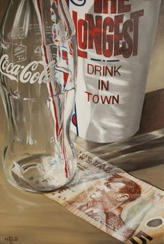 "Kiwiana artist Matt Guild's latest print for sale at NZ Fine Prints ""A Tip? Coca Cola, Glass Coke Bottles, Still Life Artists, New Zealand Art, World Famous Artists, Nz Art, Kiwiana, Everyday Objects, Still Life Photography"