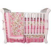 Paisley Park Pink and Lime 4 Piece Crib Bedding Set
