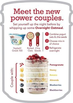 Overnight Oatmeal is my favorite! Prep ahead, grab and eat on the go. So easy so yummy good for you! Overnight Oatmeal is my favorite! Prep ahead, grab and eat… Healthy Snacks, Healthy Eating, Healthy Recipes, Clean Eating, Healthy Tips, Oats Recipes, Cooking Recipes, Drink Recipes, Recipies