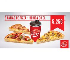 Não há 2 sem 3! Triplica o sabor com esta oferta imbatível. 3 fatias da melhor pizza do mundo e bebida 30 cl por apenas 5,25€