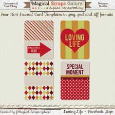 Free Loving Life 3x4 Journal Card Templates {in png, psd and tiff formats} from Magical Scraps Galore {on Facebook}