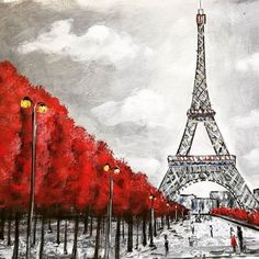 Angela Anderson Acrylic Painting Paris Eiffel Tower with Red Trees YouTube Video Tutorial July 23 at 2pm CST