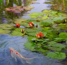 Water Lilies Painting, Monet Water Lilies, Lily Painting, Watercolor Paintings, Fish Wall Art, Fish Art, Lotus Art, Asian Art, Flower Art