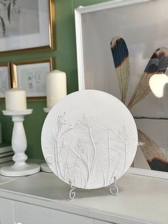 Field herbs botanical bas relief rustic wall decor by DinaArtDecor. Round bedside table relief panel on stand. White tile farmhouse kitchen wall decorating. White round botanical panel is ideal for decorating the entrance hall, living room, kitchen, bedroom or baby room