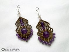 Elegant light brown macrame earrings with a by EntreteNudos