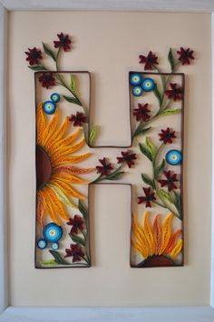 Paper Quilled Monogram Letter H Gift Idea by QuilledWonderland