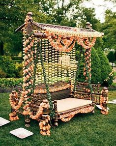Bridal Bed to the Mehndi Swing - Bridal Seat Ideas from Rent Real Weddings to spruce up your Mehndi Decor - Witty Vows
