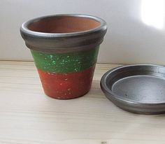 Painted Clay Pot Painted Flowers Pot Hand Painted Pot