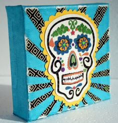 Paper Sugar Skull on 5x5 canvas by craftybomb on Etsy, $25.00