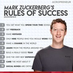 Mark Zuckerbergs rules for success. Mark Z If you agree with this do double tap… Mark Zuckerbergs rules for success. Mark Z If you agree with this do double tap Motivational Quotes For Success, Leadership Quotes, Positive Quotes, Inspirational Quotes, Discipline Quotes, Business Motivation, Business Quotes, Motivation Success, Strategy Business