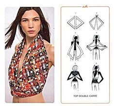 a salad of colors: Magie con i foulard Hermès. Scarf Top, Scarf Shirt, Ways To Wear A Scarf, How To Wear Scarves, Scarf Knots, Mode Top, Diy Fashion, Fashion Tips, 1950s Fashion