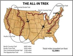 The All-In Trek-  the Pacific Northwest Trail could serve as a bridge between the Pacific Crest and Continental divide.  Add in the Great River Road and you'll can transverse the country.