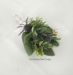 Organic Garden boutonniere/corsage: eryngium, eucalyptus, succulent