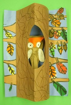 Really cute owl in a tree craft.  No instructions, just inspiration.