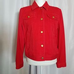 9cffe464bd Ralph Lauren Jeans Co Red Denim Jean Jacket Size Large Gold Tone Logo  Buttons  LaurenRalphLauren