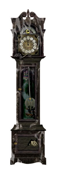 A large jointed cardboard cut out of a haunted Grandfather Clock with a scary handing poking out from a drawer at the bottom. 2 metres tall by 45cm wide.