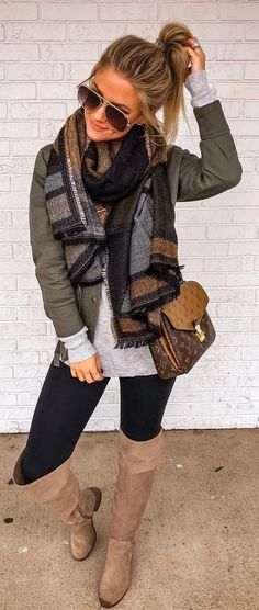 Fall winter grunge edgy fashion outfits - My StyleOversized warm scarves + army green jacket + gray shirt + black leggings + camel brown knee high boots. Winter Outfits For Teen Girls, Winter Mode Outfits, Cute Fall Outfits, Winter Fashion Outfits, Look Fashion, Autumn Winter Fashion, Fashion Models, Casual Outfits, Fashion Edgy