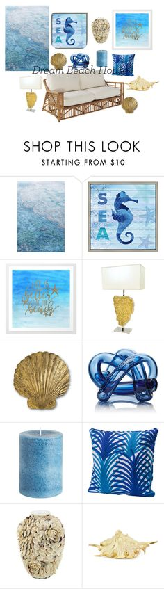 """""""Dream beach house"""" by ruxiaraces ❤ liked on Polyvore featuring interior, interiors, interior design, home, home decor, interior decorating, Anthropologie, Green Leaf Art, SkLO and Pier 1 Imports"""
