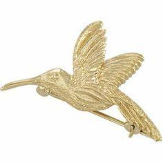 CleverEveu0027s 14K Yellow Gold 27.00X25.00 Mm Hummingbird Brooch CleverEve.  $569.99