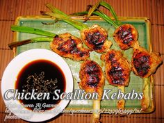 This chicken scallion kebabs mimics the bamboo skewers by using scallion stalks and by wrapping pieces of chicken fillet to represent chicken kebabs. #ScallionKebabs #ChickenKebabs Meat Recipes, Chicken Recipes, Cooking Recipes, Roasted Chicken, Tandoori Chicken, Chicken Paella, Kebabs On The Grill, Honey And Soy Sauce, Chicken Breast Fillet